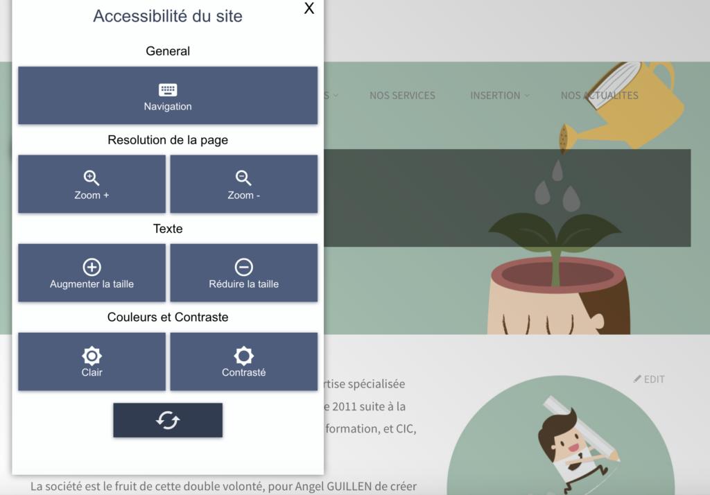 Exemple de la barre d'accessibilité sur le site de formation Xperta